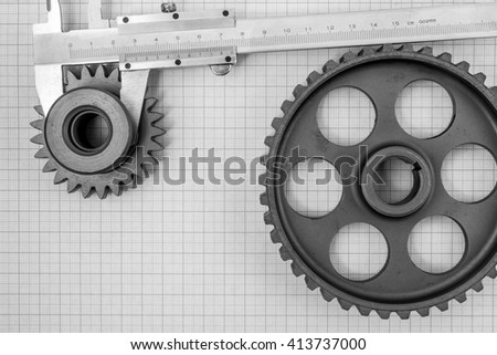Technical topic on graph paper can use as background. Black and white photography. - stock photo