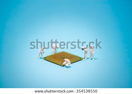 Technician analysis CPU microprocessor. Technology concept - stock photo