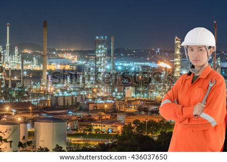 technician and Oil Industry Refinery factory at Sunset, Petroleum, petrochemical plant, Oil refinery industry, Oil refinery at twilight - stock photo