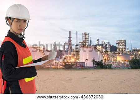 technician  and Oil Refinery factory in the morning and Sunrise, Petroleum, industrial , Oil refinery industry - stock photo