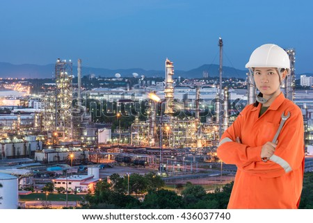 technician and petrochemical plant in night time, Industry Petrochemical plant in sunshine, overall view of an oil and gas refinery, heavy industry, Internal structure of large thermal power plant - stock photo