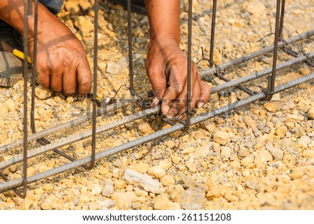 technician bundle wire steel rod for construction job