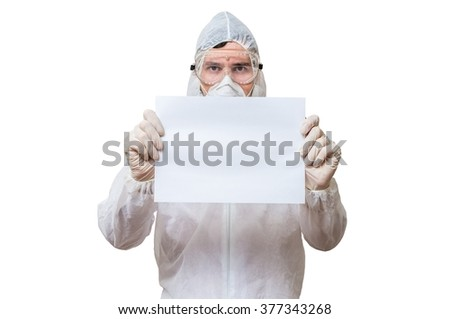 Technician in coveralls is holds blank paper for custom text. Isolated on white background.