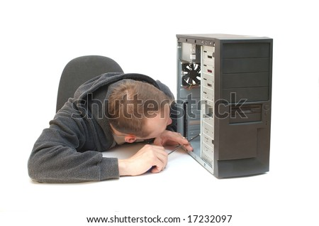 Technician repairing PC isolated on white