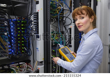 Technician Using Digital Cable Analyzer On Stock Photo 215155324 ...