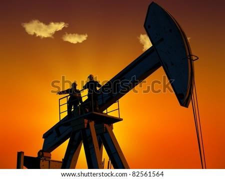 Technique for oil in a landscape. - stock photo
