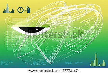 Techno Abstract Technology Background - Illustration - stock photo