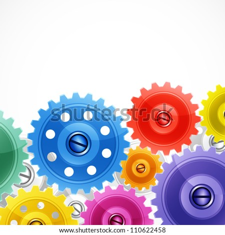 Techno background with colorful gears. - stock photo