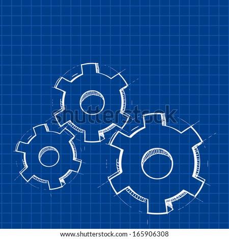 Techno gears blue print background - stock photo