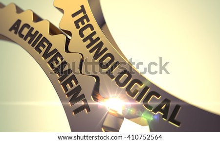 Technological Achievement on the Mechanism of Golden Gears with Lens Flare. Golden Metallic Cogwheels with Technological Achievement Concept. 3D Render. - stock photo