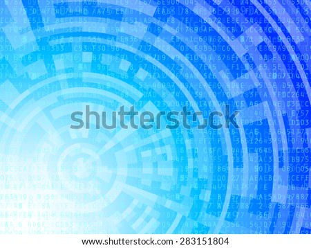 Technological background data numbers and letters on blue and white gradient.  - stock photo