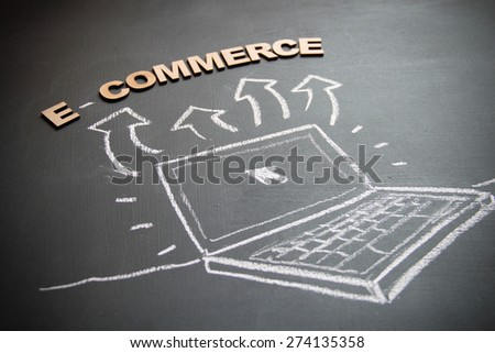 Technological business concept drawing on blackboard. Concept is commerce. Now a days on-line based business is very popular - stock photo
