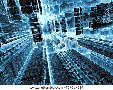 Technology abstract background - computer-generated image. 3d render - fractal illustration in tech style: streets of surreal city. Trendy concept for telecommunications, industry design projects.