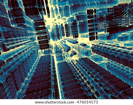 Technology abstract background - computer-generated image. 3d render - fractal illustration in tech style: streets of surreal city. Trendy concept for high-tech, telecommunications, industry design.