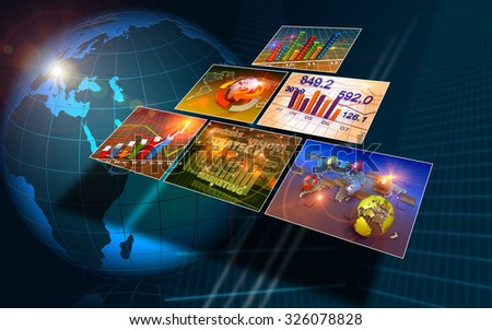 Technology abstract background, concept of global business  - stock photo