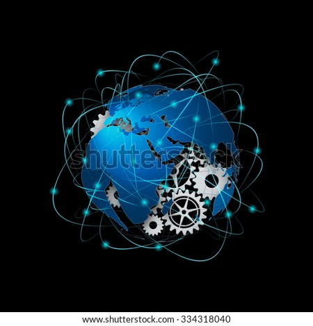 Technology abstract background, concept of global communication - stock photo