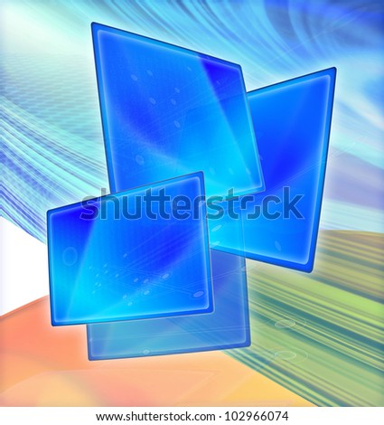 Technology abstract illustration of liquid crystal  display monitors in blue fast moving background with binary code, illustrating data speed transfer and futuristic communications and connectivity