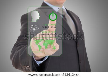 technology access for security or identification.Hand with digital scanner. - stock photo