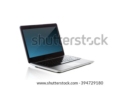 technology and advertisement concept - laptop computer with blank black screen over white - stock photo