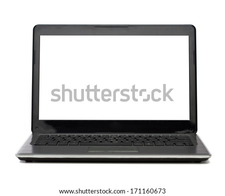 technology and advertisement concept - laptop computer with blank white screen