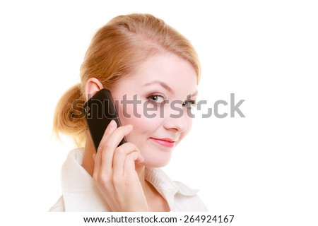 Technology and business communication. Young businesswoman talking on cell phone. Blonde woman using smartphone isolated on white.