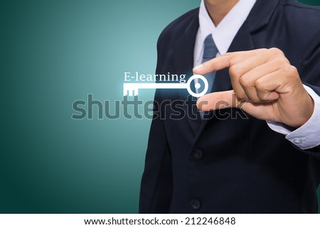 Technology and business systems, and the Internet - keys of E-learning search. - stock photo