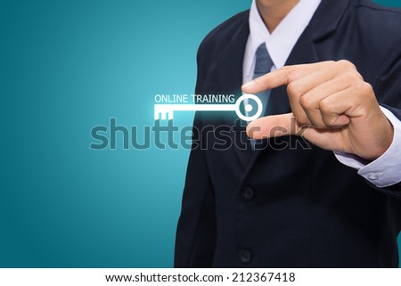 Technology and business systems, and the Internet - keys of ONLINE TRAINING search.  - stock photo