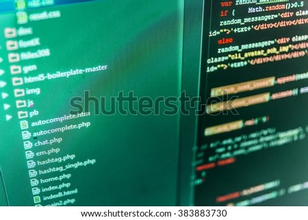 Technology background.  Abstract screen of software. Writing programming code on laptop. Software background. (Code is my own property there is no risk of copyright violations)