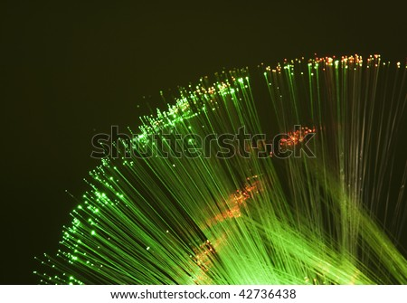 technology background, Bunch of green red fibre optics more in my portfolio - stock photo