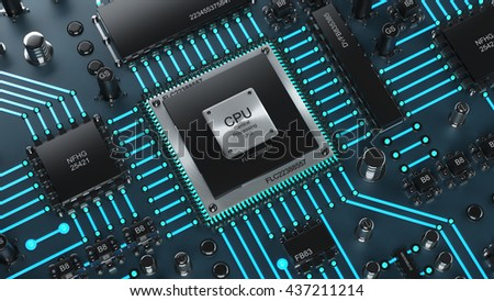 Technology background. Central Computer Processors CPU concept. High resolution 3d render - stock photo