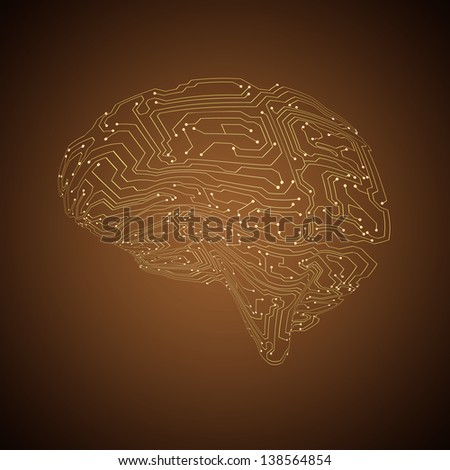 Technology background. Circuit board brain. Raster version of the loaded vector