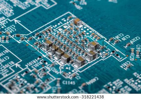 Technology background. Closeup with shallow DOF. - stock photo