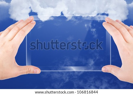 Technology background, cloud computing, augmented reality, abstract smartphone in hands, multimedia gadget, - stock photo