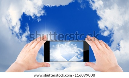 Technology background, cloud computing, augmented reality, abstract smartphone in hands, multimedia gadget