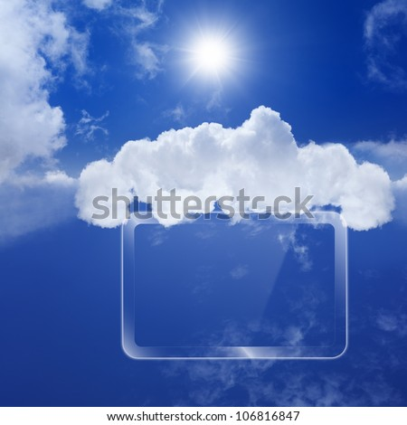 Technology background, cloud computing, augmented reality, abstract smartphone, multimedia gadget