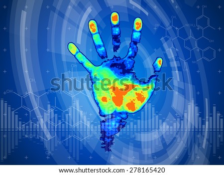 technology background - thermal hand print, blue technology background, chemical formulas & digital wave - stock photo