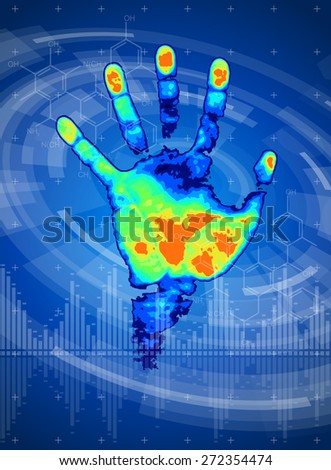 technology background - thermal hand print, digital wave, radial HUD interface elements - stock photo