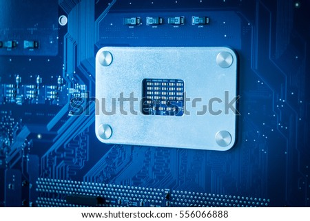 Technology background with computer processors CPU concept blue circuit board background