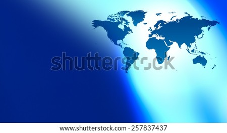 Technology blue world map background