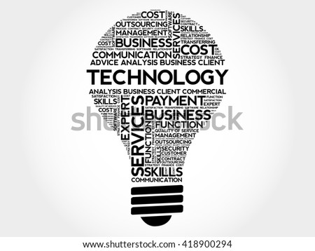 Technology bulb word cloud, business concept - stock photo