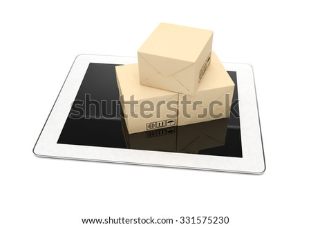 Technology business concept of shipping: cardboard package boxes on tablet
