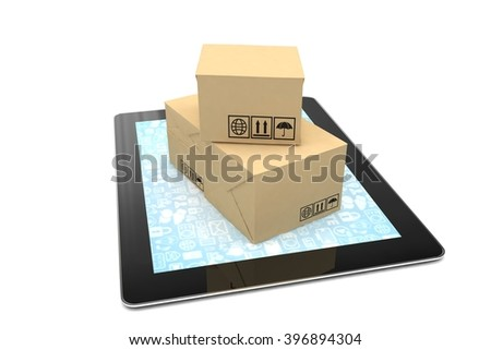 Technology business concept of shipping: cardboard package boxes on tablet . 3D rendering. - stock photo