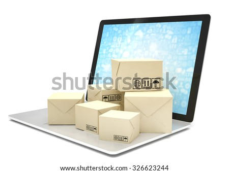 Technology business concept, shipping: cardboard package boxes on laptop - stock photo