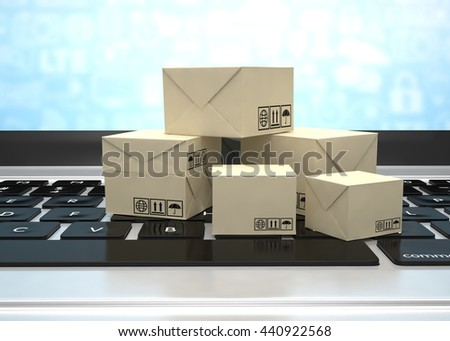 Technology business concept, shipping: cardboard package boxes on laptop. 3d rendering. - stock photo