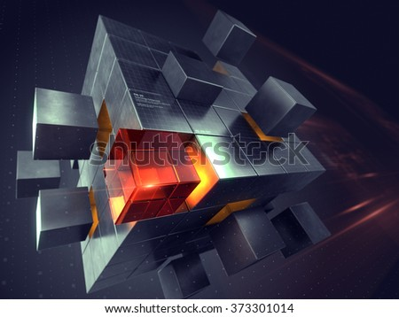 Technology business internet and communication concept - cube assembling from blocks - stock photo