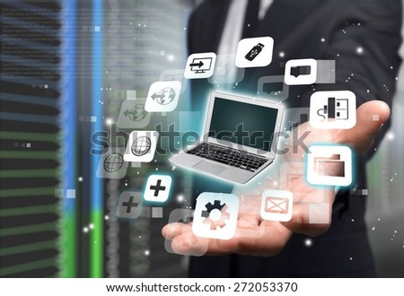 Technology. Businesswoman holding business collection - stock photo