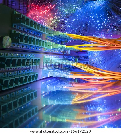 Technology center with fiber optic equipment - stock photo