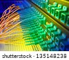 Technology center with fiber optic equipment patch core - stock photo