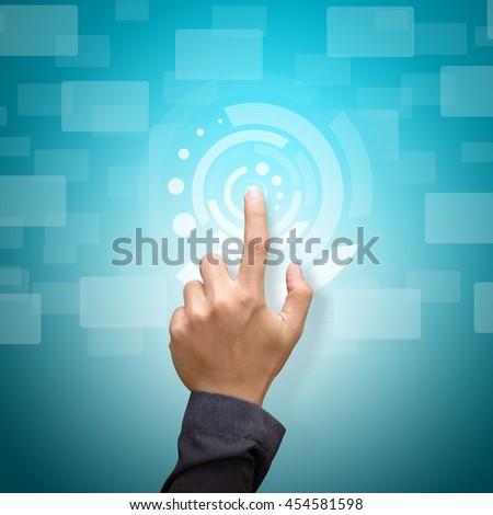 technology communication concept : smart hand touch the power The hand touch the power : technology background - stock photo