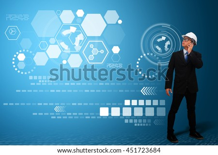 technology communication concept : the engineering with the smart idea - stock photo